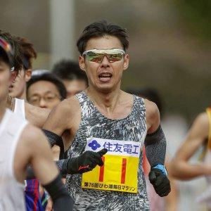 第76回びわ湖毎日マラソン大会で走る永田務選手