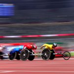 8月27日、陸上男子5000mT54クラス。車いすレーサーの圧倒的なスピード!