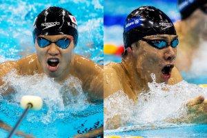 写真:競泳(知的障がいクラス)山口尚秀選手と(視覚障がいクラス)木村敬一選手