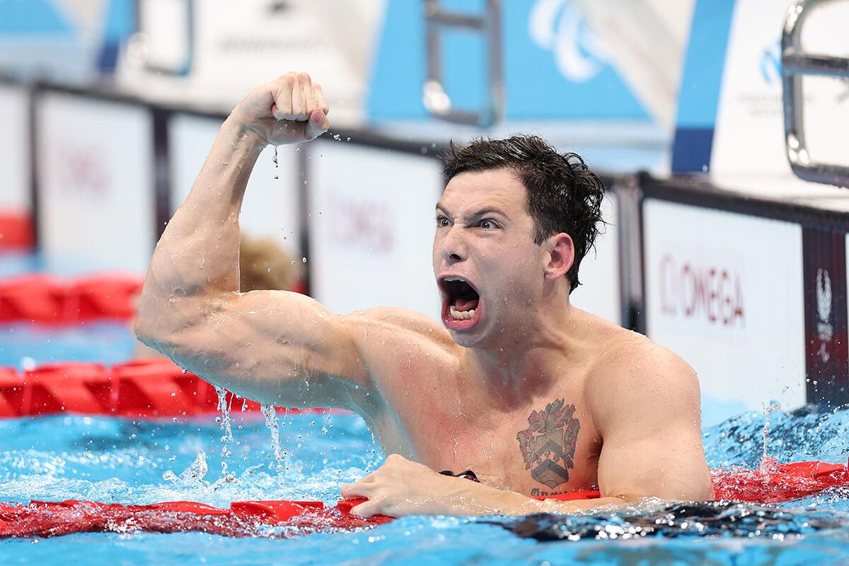 水泳男子50mバタフライS7決勝、金メダルのアメリカ、エバン・オースティン選手